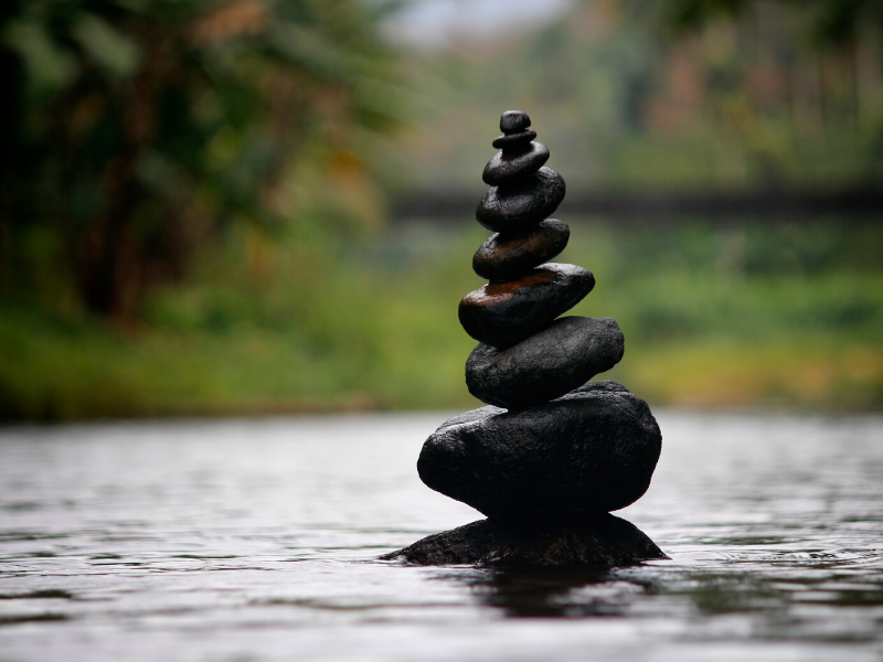 Stones stacked on water